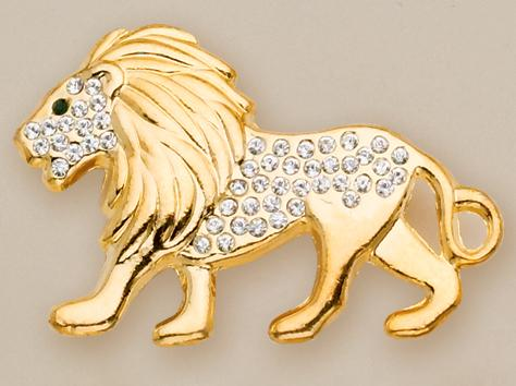 PA227L: Golden Lion with Austrian Crystals