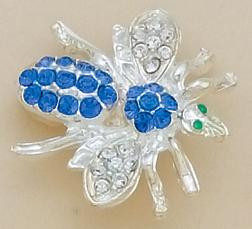PA250B: Blue Crystal Bee Pin