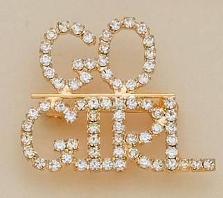 PA264: GO GIRL Austrian Crystal Gold Pin
