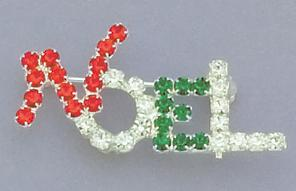 PA428: Crystal NOEL Christmas Pin
