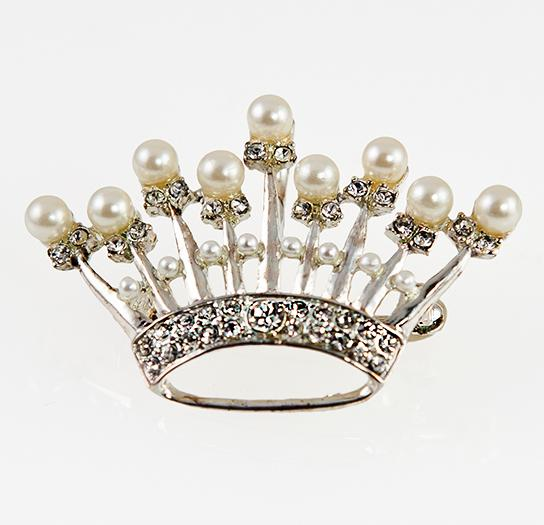 PA604: Crystal and Pearl Crown Pin Silver or Gold