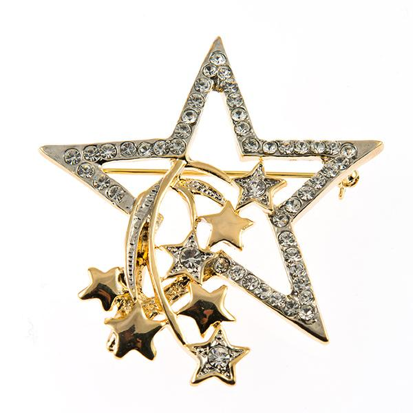 PA627: Golden Crystal Star Pin