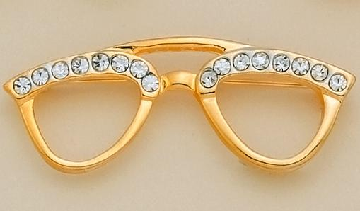 PA96P: Large Gold Crystal Eyeglasses