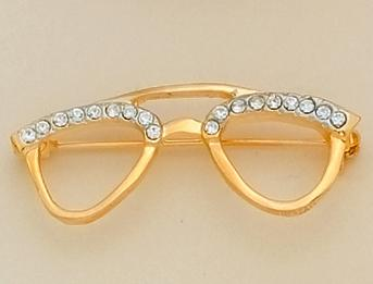PA96SM: Small Gold Crystal Eyeglasses