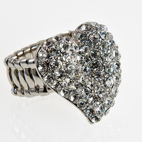 RA133: Silver Heart Cluster Ring