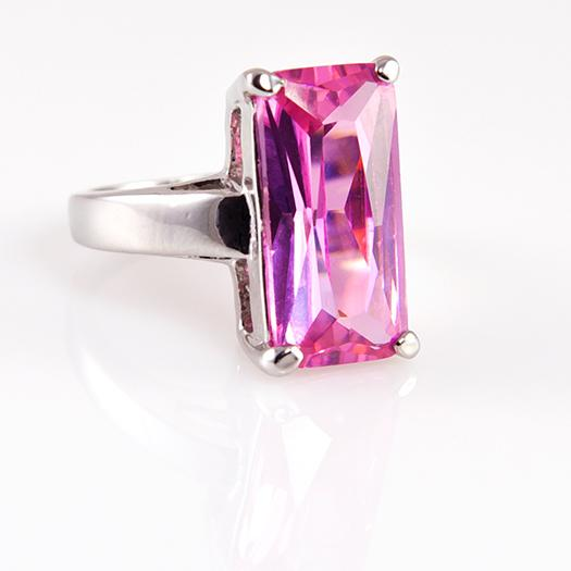 RA140: Emerald Cut Pink Ring