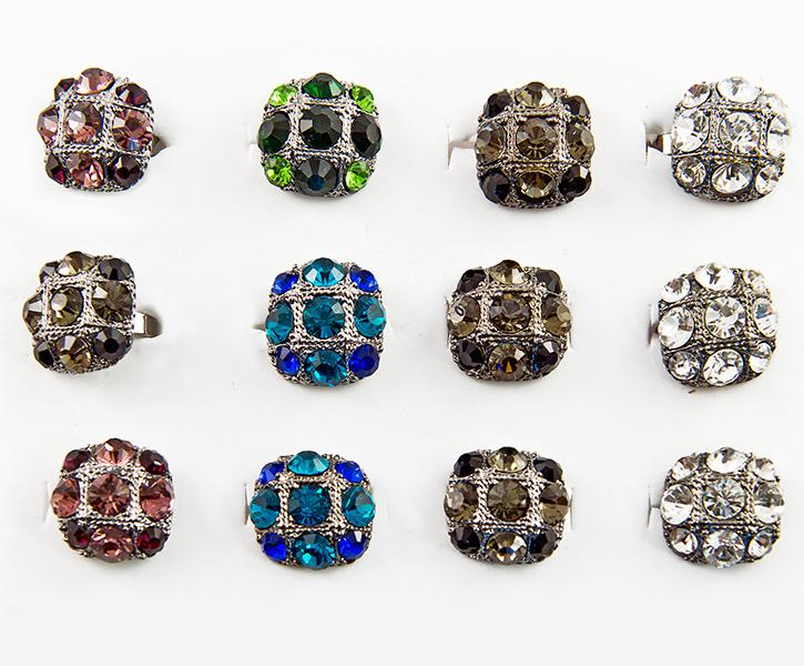 RA157: Dozen Assortment of Crystal Rings
