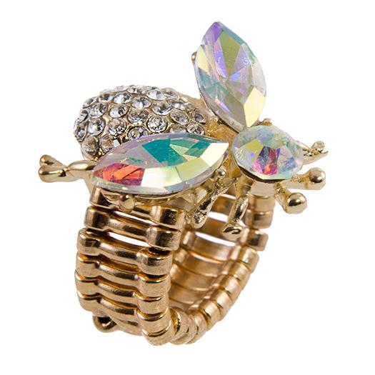 RA161: Stunning AB Crystal Bee Ring