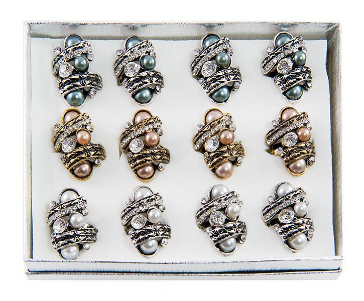 RA164: Assorted Adjustable Pearl Rings