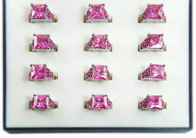 RA309: 1 Dozen Pink or Diamond CZ Rings