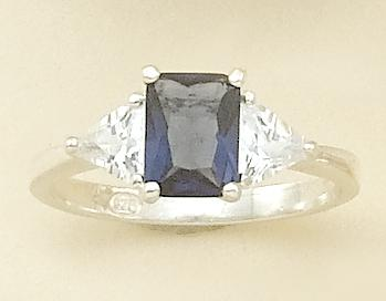 RA75B: Emeral Cut Blue CZ Ring