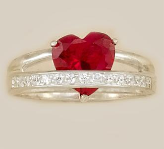 RA86: Red Heart CZ Ring