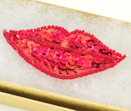 SEQ04: Sequin Red Hots Lips Applique