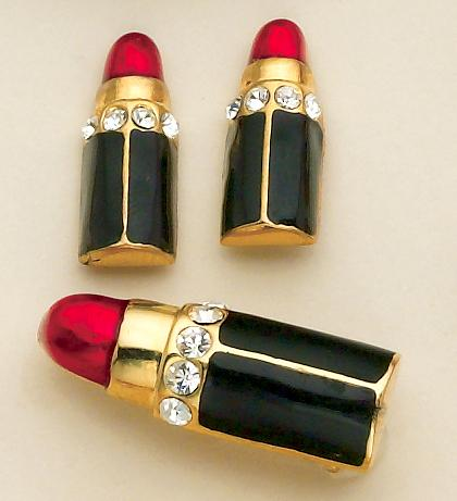 SN14: 2-Piece Lipstick Pin & Earrings Set