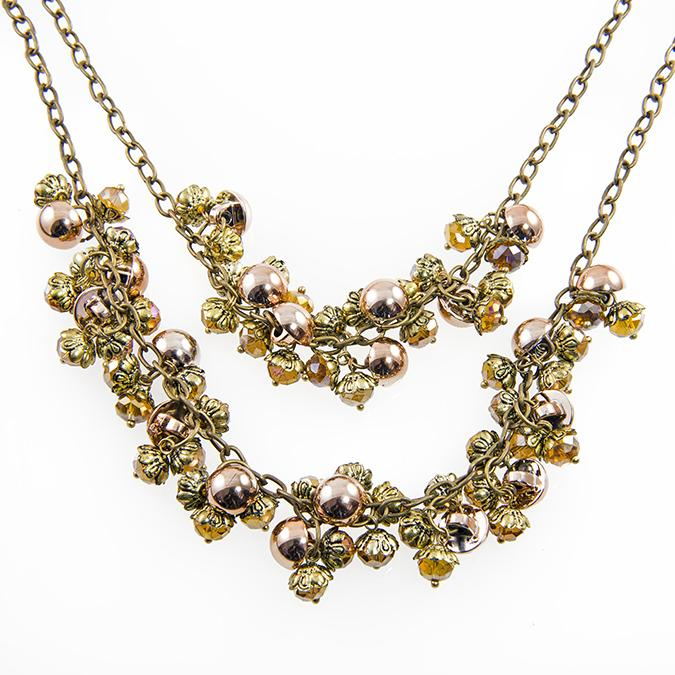 SN267: Gold and Topaz Beaded Necklace