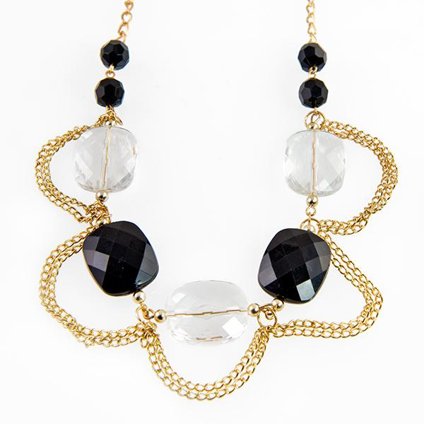 SN277: Elegant Black and Gold Necklace