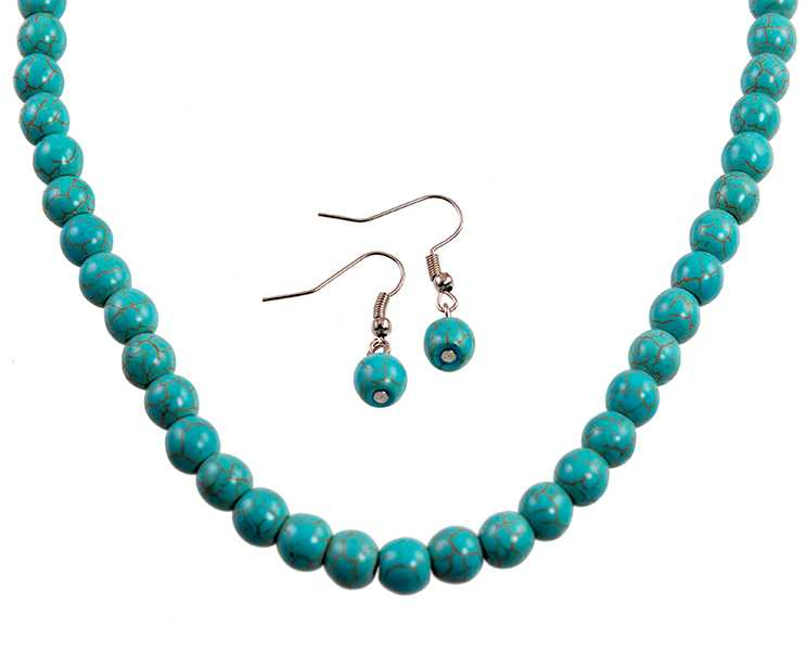 SN328: Turquoise Necklace and Earring Set