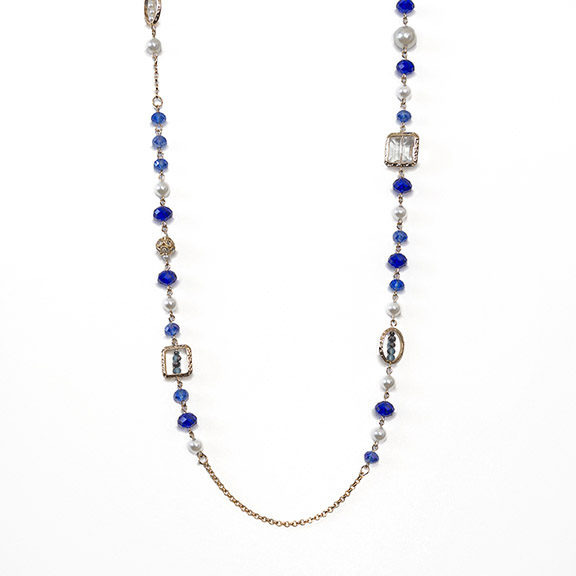 SN349: Sapphire and Pearl Necklace and Earring Set