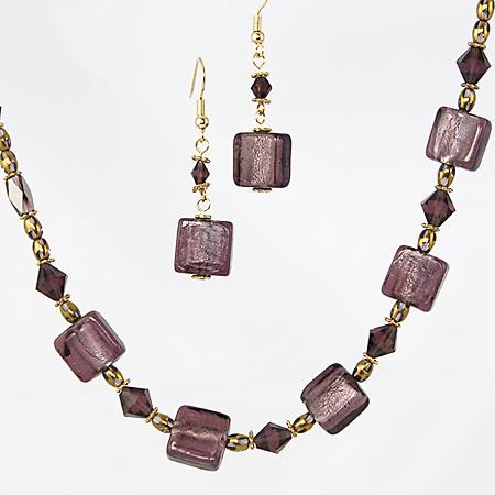 SNT121: Amethyst Murano Glass & Crystal Set