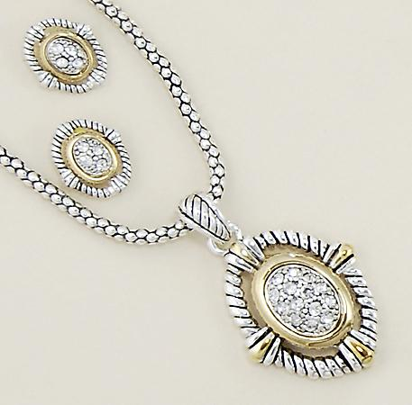 SNT124: 2-Tone Yurmanesque Necklace & Earrings Set