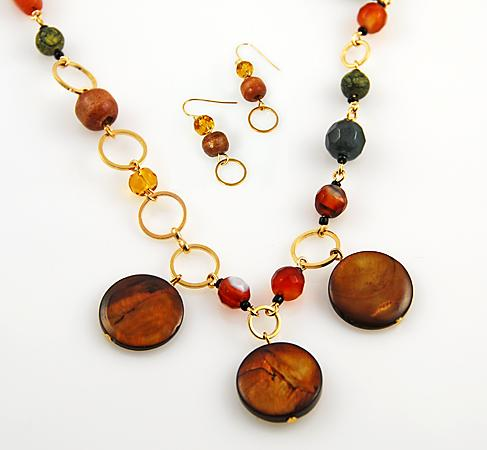SNT129: Natural Stone Necklace & Earrings Set