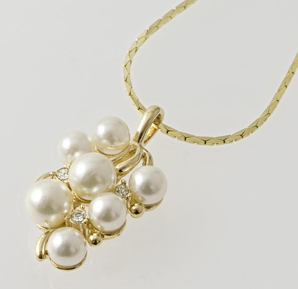 SNT159: Pearl & CZ Necklace & Earrings Set