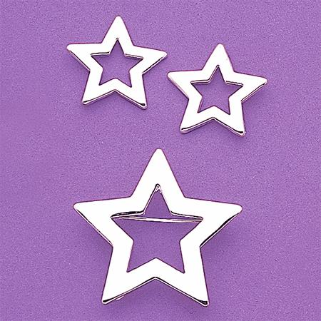 SNT58: Silver Open Star Earring & Pin Set
