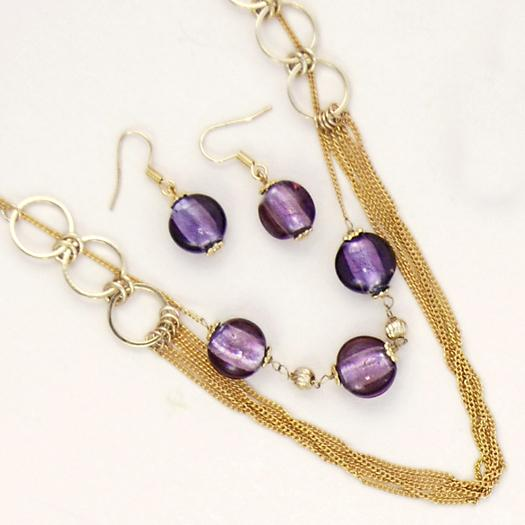 SNT84: Amethyst Murano Multi-Strand Necklace & Earrings Set