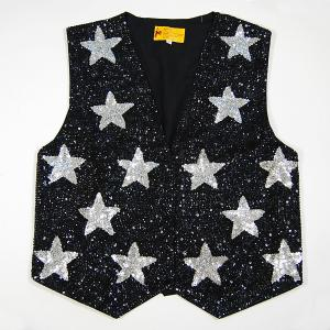 VE111: Sequine Black w/ Silver Stars Vest