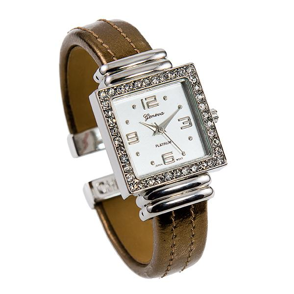 WA131:Cuff Watch with Crystal Accents