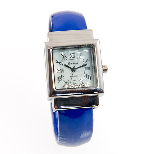 WA157: Blue Cuff Watch with Floating Crystal