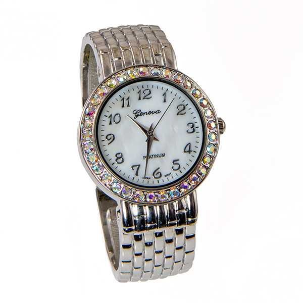 WA165: Crystal Silver Cuff Watch