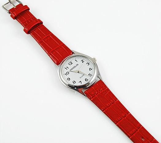 WA96: Round Face Red Leather Wristwatch